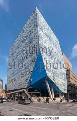 Glass facade of Ryerson University Student learning Centre building on Yonge Street in downtown Toronto Ontario Canada - Stock Image