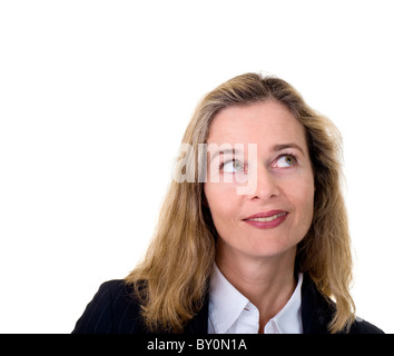 mature business woman looking up isolated on white - Stock Image