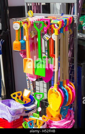 Beach bucket and spade toys on sale at a kiosk at Fairhaven lake, Lytham, Lancashire. - Stock Image