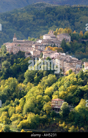 the beautiful small historic hilltown of Amandola is in the Sibillini National Park, Le Marche Italy - Stock Image