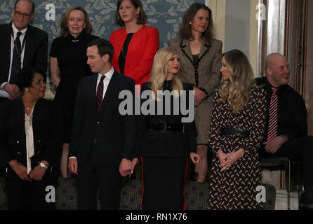 Washington, District of Columbia, USA. 5th Feb, 2019. Senior Advisor Jared Kushner, First Daughter and Advisor to the President Ivanka Trump, and Lara Trump stand in the gallery prior to the arrival of First lady Melania Trump in anticipation of United States President Donald J. Trump delivering his second annual State of the Union Address to a joint session of the US Congress in the US Capitol in Washington, DC on Tuesday, February 5, 2019 Credit: Alex Edelman/CNP/ZUMA Wire/Alamy Live News - Stock Image