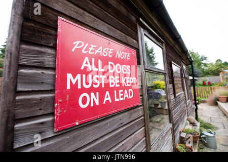 Vintage red hand-painted large National Trust sign asking visitors to keep all dogs on a lead - Stock Image