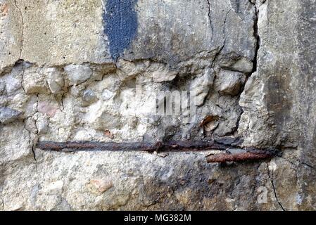 Closed-up Broken Concrete Pole. - Stock Image
