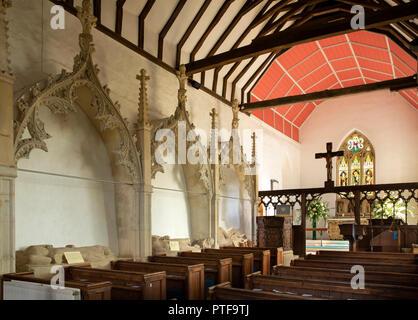 England, Berkshire, Aldworth, St Mary's church, Aldworth Giants, de la Beche family effigies beside pews in nave - Stock Image