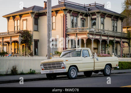 Ferndale at sunset which is a classic North Californian town. - Stock Image