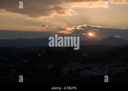 Sunset in the mountains -Andalusia - Spain - Stock Image