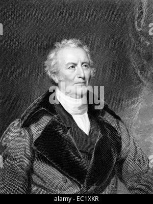 John Trumbull (1756-1843) on engraving from 1834.  American painter during the period of the American Revolutionary - Stock Image