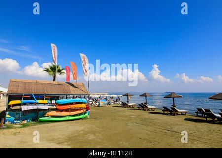 Finikoudas beach, Larnaca, Cyprus October 2018 - Stock Image
