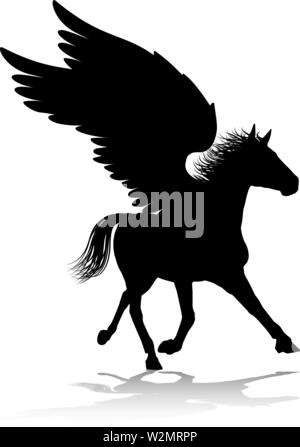 Pegasus Silhouette Mythological Winged Horse - Stock Image