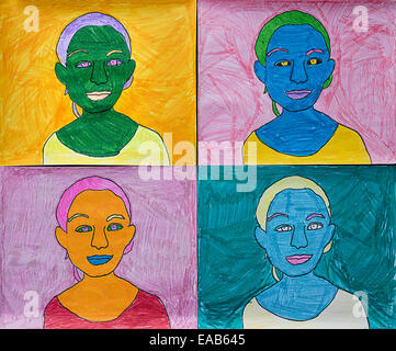 Child's art project on Warhol. - Stock Image