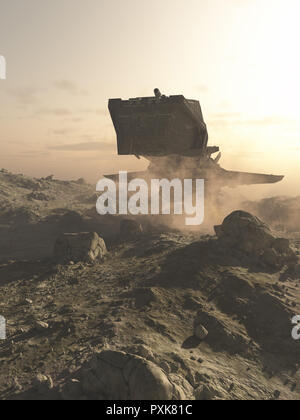 Spaceship landing on A Rocky Planet - Stock Image