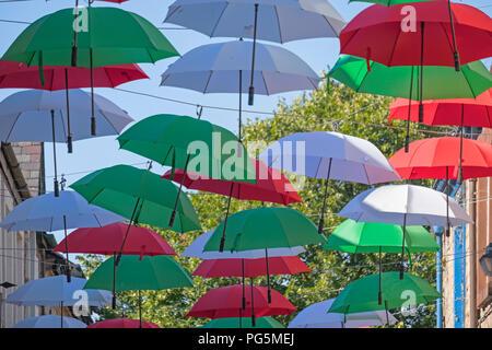 Festa Italia umbrella canopy Italian brolly festival New Street Lancaster Lancashire UK - Stock Image