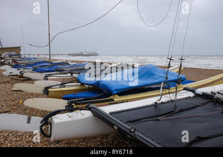 Brighton, UK. 12th Mar, 2019. Windswept Brighton seafront as Storm Gareth arrives in Britain and Ireland with wind speeds forecast to reach up to 70 mph in some areas Credit: Simon Dack/Alamy Live News - Stock Image