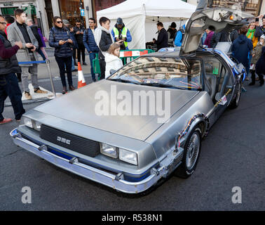 Three-quarter front  view of the DeLorean time machine  from the Back to the Future films, on display at the 2018 Regents Street Motor Show - Stock Image