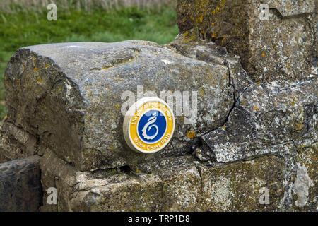 Wales Coast Path Pottery sign at Nash Point on the Glamorgan Heritage Coast - Stock Image