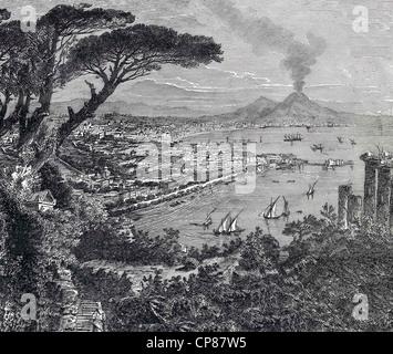 Cityscape of Naples with Mt Vesuvius, Italy, historical engraving, 19th Century, Stadtansicht von Neapel mit dem - Stock Image
