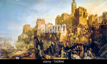 Jacques de Molay Battle of Jerusalem 1299, Crusades, battle scene by Claude Jacquand, painting, 1846 - Stock Image