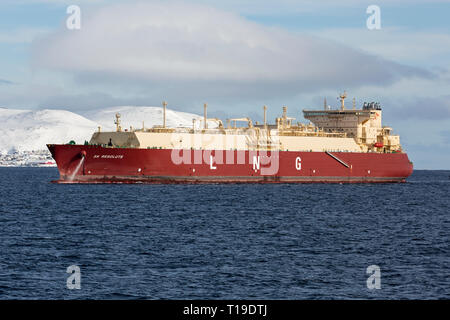 The SK Resolute, a Liquid Natural Gas, LNG, tanker, built in 2018, under anchor in the Norwegian Fjords. - Stock Image
