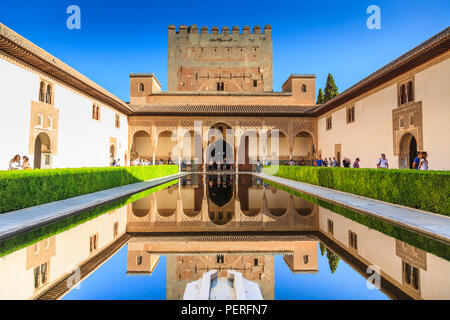The Court of the Myrtles at the Alhambra Palace in Granada Spain - Stock Image