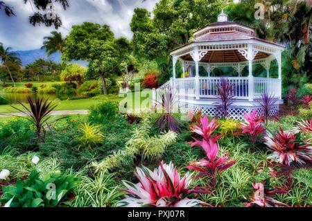 Gardens with gazebo at Maui Tropical Plantation. Maui. Hawaii - Stock Image