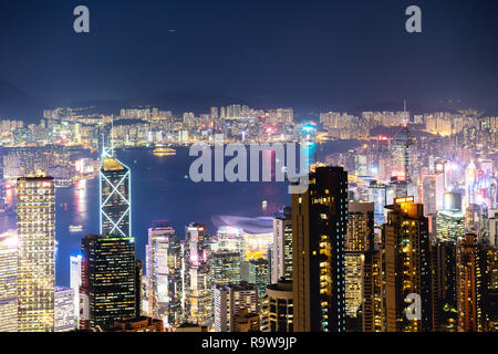 Hong Kong at night time. Aerial view from Victoria peak - Stock Image