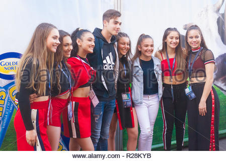 Female pop group Girl Nation poses with fans for a photo session at the Royal Adelaide Show in South Australia, Australia. - Stock Image