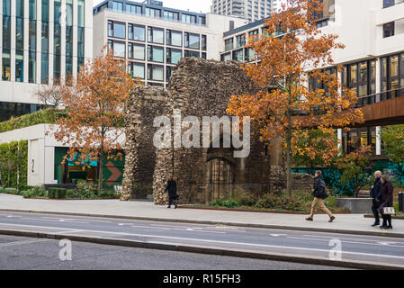 Ruins of the tower of the medieval Church of St. Alphege, London Wall, London, England, UK. - Stock Image