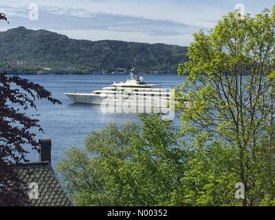 Bergen, Norway. 05th June, 2015. Super yacht Eclipse owned by the Russian Chelsea owner Roman Abramovich, arrived - Stock Image