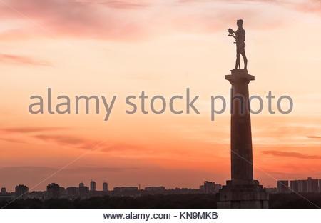 Statue du vainqueur à Belgrade en Serbie-Pobednik statue at Beograd en Serbia - Stock Image