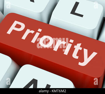 Priority Key On Keyboard Meaning Preference Greater Importance Or Primacy - Stock Image