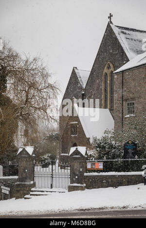 Pembrokeshire, Wales, 2nd March 2018. A snowy St.Mary's church in Pembroke town in Pembrokeshire, Wales Credit: - Stock Image