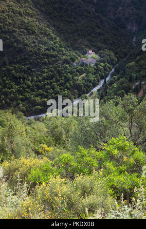 Sotiris Monastery located deep in the Vyros Gorge in the Peloponnese of Greece - Stock Image