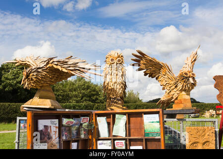 Bird sculptures  by Geoff Whitley, woodcarver , on his stand at the Lancashire Game and Country Festival 2015 at - Stock Image