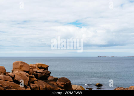 Rock formations in Pink Granite Coast around Perros-Guirec in Brittany, France - Stock Image