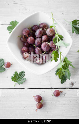 Bunch of red gooseberries in white bowl - Stock Image
