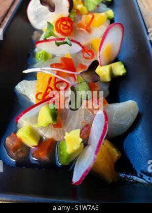 Cerviche with avocado, mango, radish and watercress - Stock Image