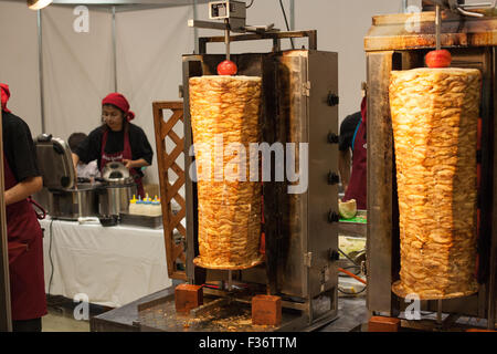 kebab BBQ doner giros middle eastern food on spits - Stock Image