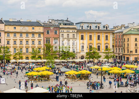 Elevated view over the medieval old town in Krakow - Stock Image