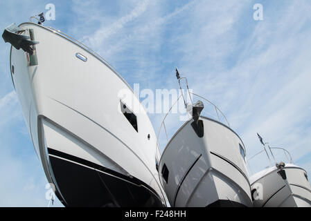 Southampton, UK. 11th September 2015. Southampton Boat Show 2015. A Manhattan 55, Predator 68 and 68 Sport Yacht - Stock Image
