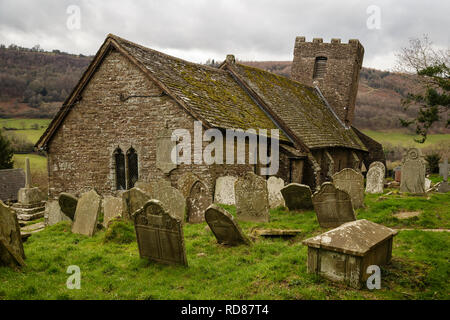St Martin's church, Cwmyoy, known as the 'Crooked Church', near Abergavenny, Monmouthshire, Wales, UK - Stock Image