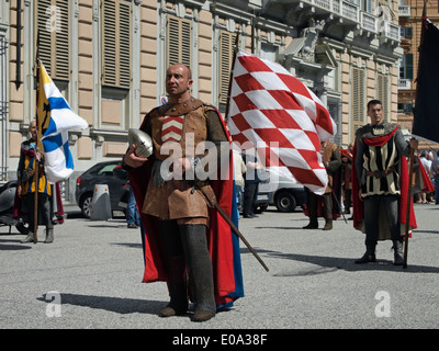 procession with historical costumes in Genoa during the 4 maritime republics regatta - Italy - Stock Image