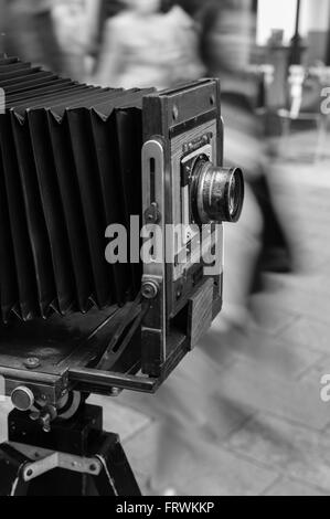 Large format (8x10) camera with Alvan G. Clark, the first double Gauss lens - Stock Image