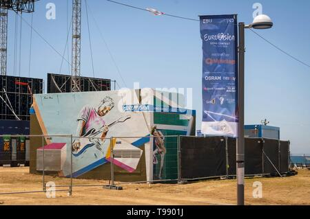 TEL AVIV, ISRAEL. May 11, 2019. Backstage preparations to the international Eurovision song contest in the Eurovision village in the central Tel Aviv. - Stock Image