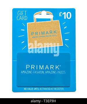 Primark £10 gift card - Stock Image
