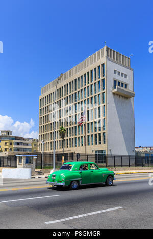 US American Embassy in Cuba, diplomatic representation building of the United States of America, exterior, Havana - Stock Image