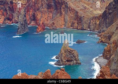Sea Cliffs at Ponte de Lourenco - Stock Image