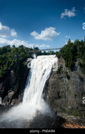 Montmorency Falls, a few minutes (7.5 miles) from downtown Québec City, at the mouth of the Montmorency River. - Stock Image