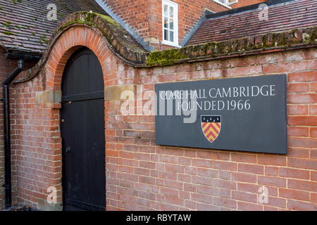 Sign outside Clare Hall Cambridge, college of University of Cambridge, UK - Stock Image
