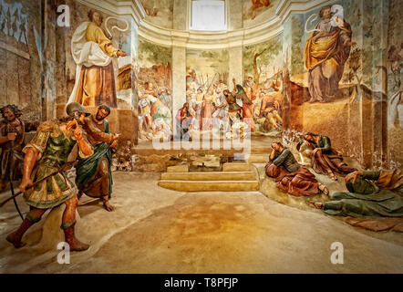 Italy Lombardy Unesco World heritage Site - Sacro Monte di Varese ( Varese sacred Mount ) - VI Chapel - prayer in the garden of olives - Stock Image