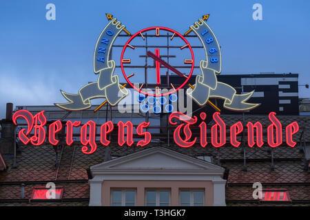 Bergens Tidende neon sign Bergen Norway - Stock Image